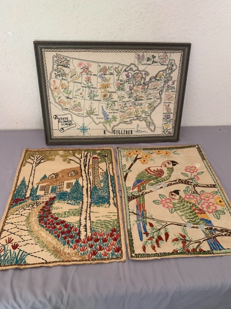 Lot # 7 Lot Of Beautiful Cross Stitch Done By Soldiers Wife( Lot 5 For History). See Below