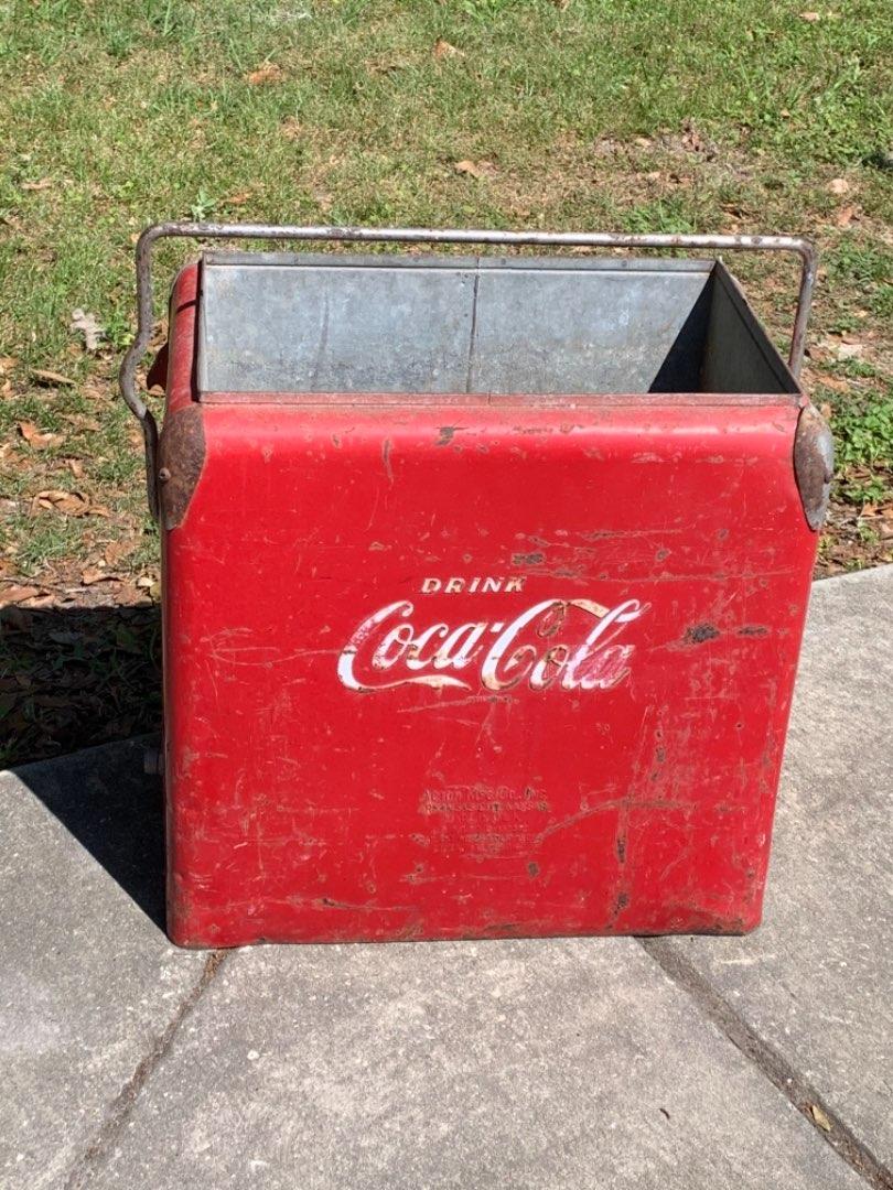 Lot # 8 Original Vintage 1950's Acton Mfg Coca Cola Cooler. Solid Condition No Cover