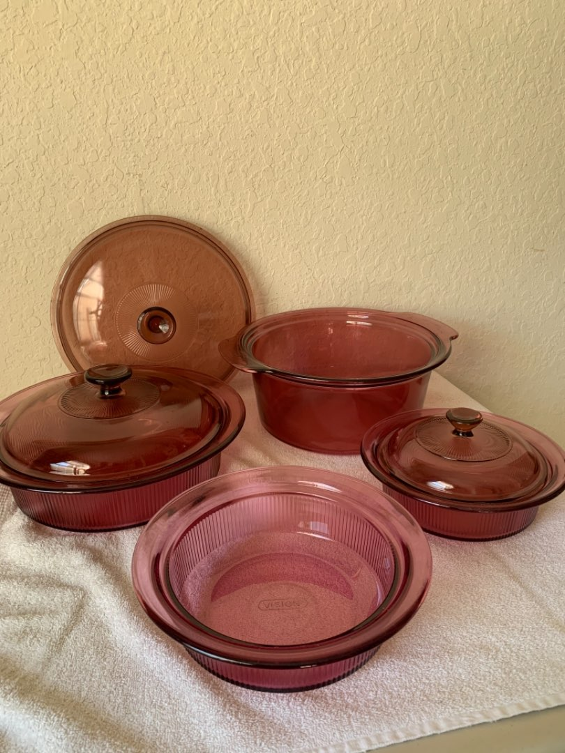 Lot # 11 Lot 7 Pieces Ribbed Cranberry Corning Vision Ware. See Below