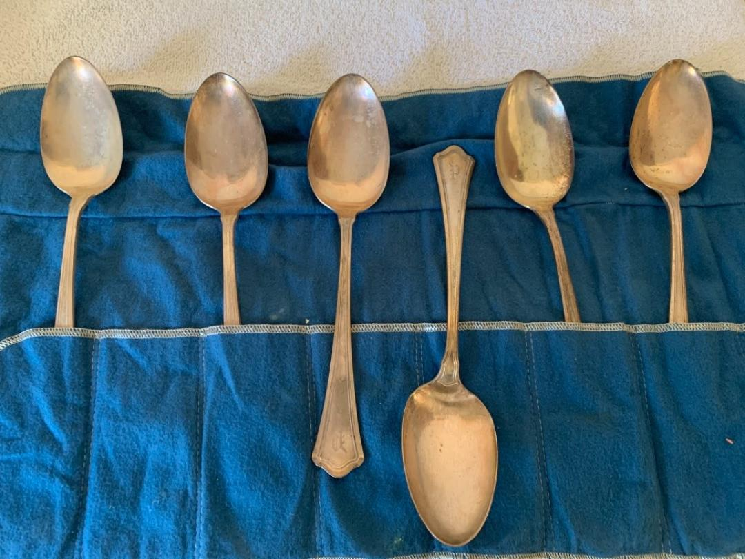 Lot # 22  Lot 8. Lot Of 6 Huge Wallace & Sons Sterling Serving Spoons. See Below