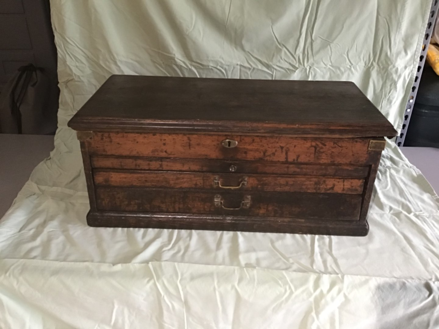 Lot # 31 GREAT Antique Spool Cabinet/ Document Chest w/Hinged Lid, 3 Drawers. Nice!