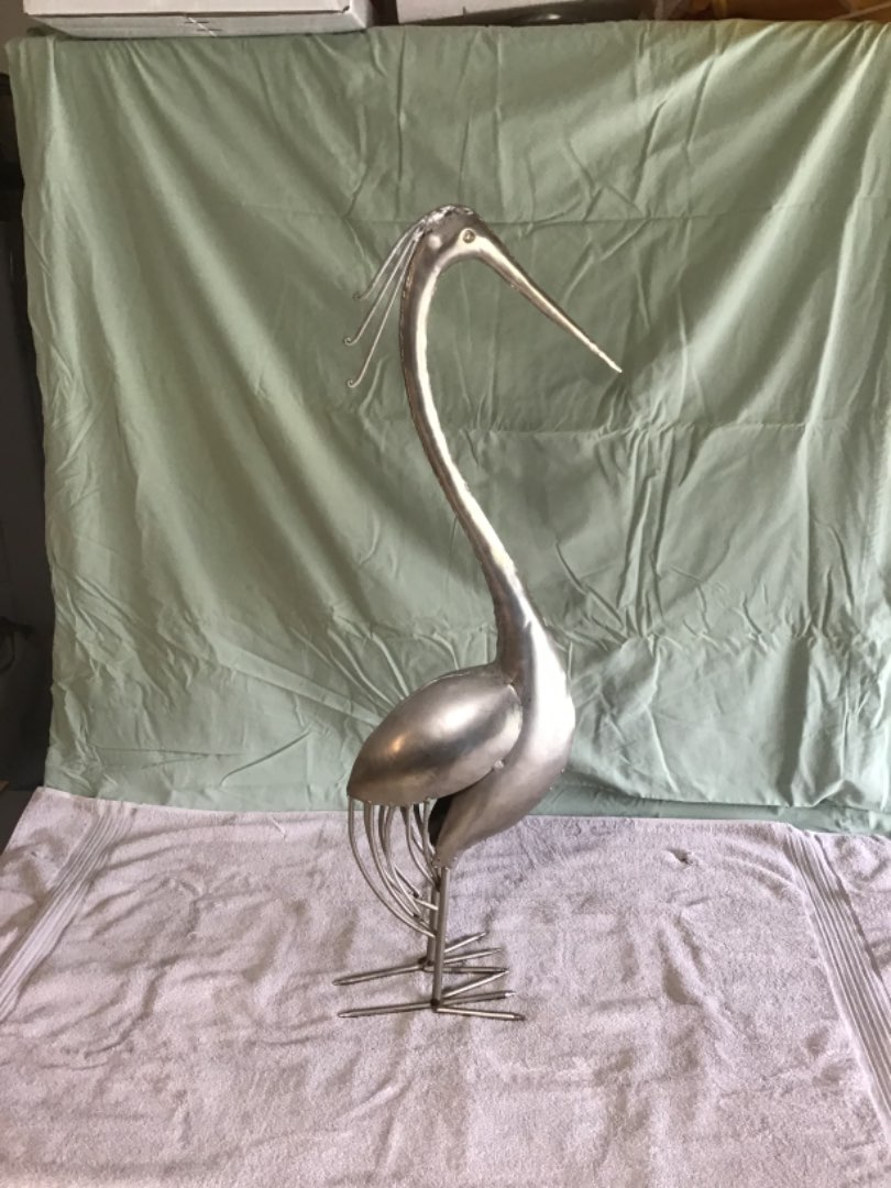 """Lot # 34 Tall 34"""" Standing Metal Silver Pelican Lawn Ornament! VG Condition"""