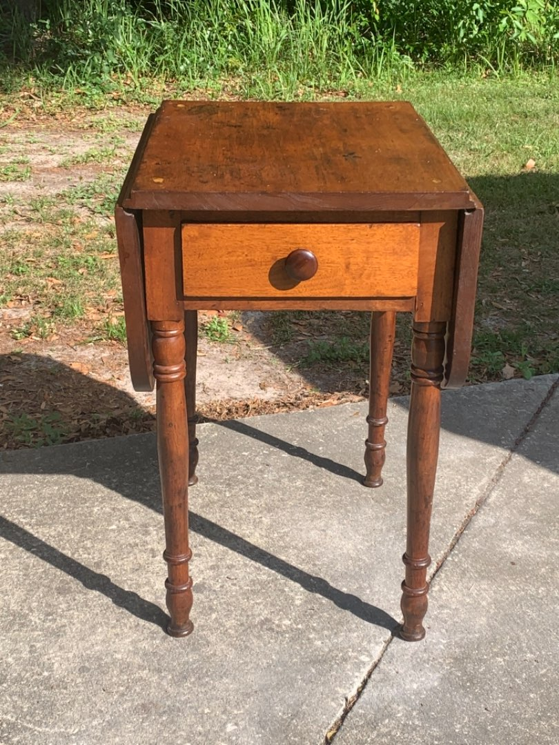 Lot # 35 Original Antique Walnut Drop-leaf Sheraton One Drawer Stand. See Below