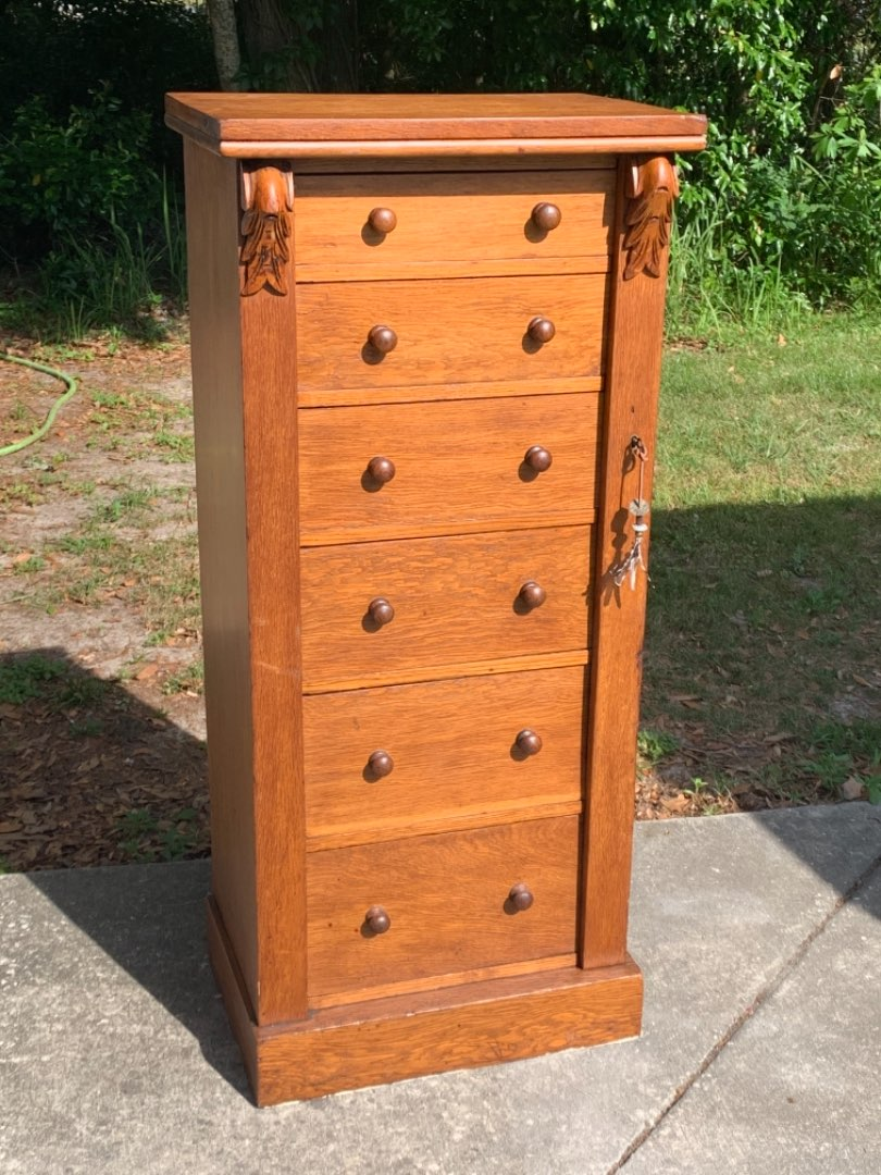 Lot # 36 GREAT & RARE Antique LOCKING 6 Drawer Lingerie Chest. See Below