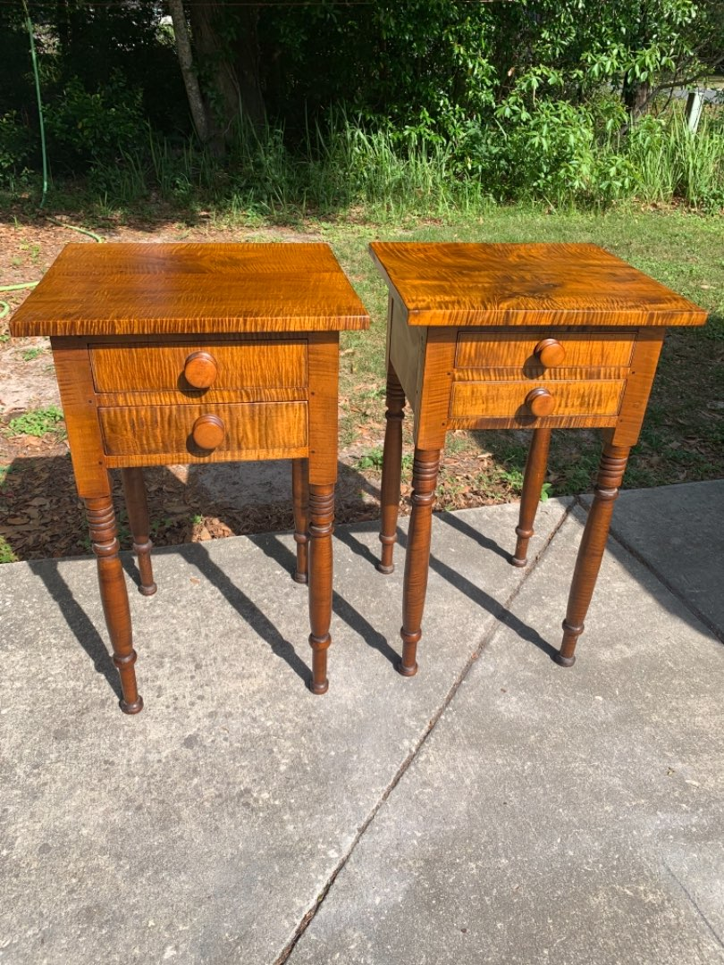 Lot # 38 (2nd Stand) Superb Antique NEW YORK Tiger Maple 2 Drawer Sheraton Stand. See Below