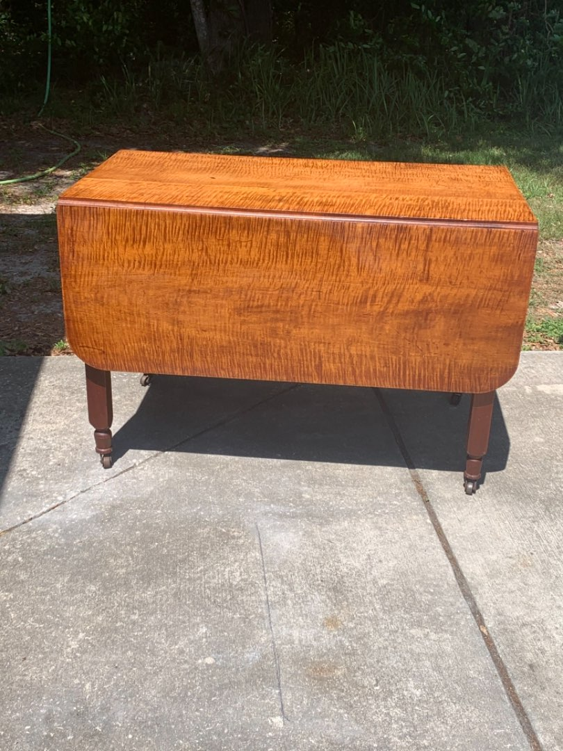 Lot # 45 Absolutely Gorgeous Period Antique Tiger Maple Drop Leaf Table. See Below