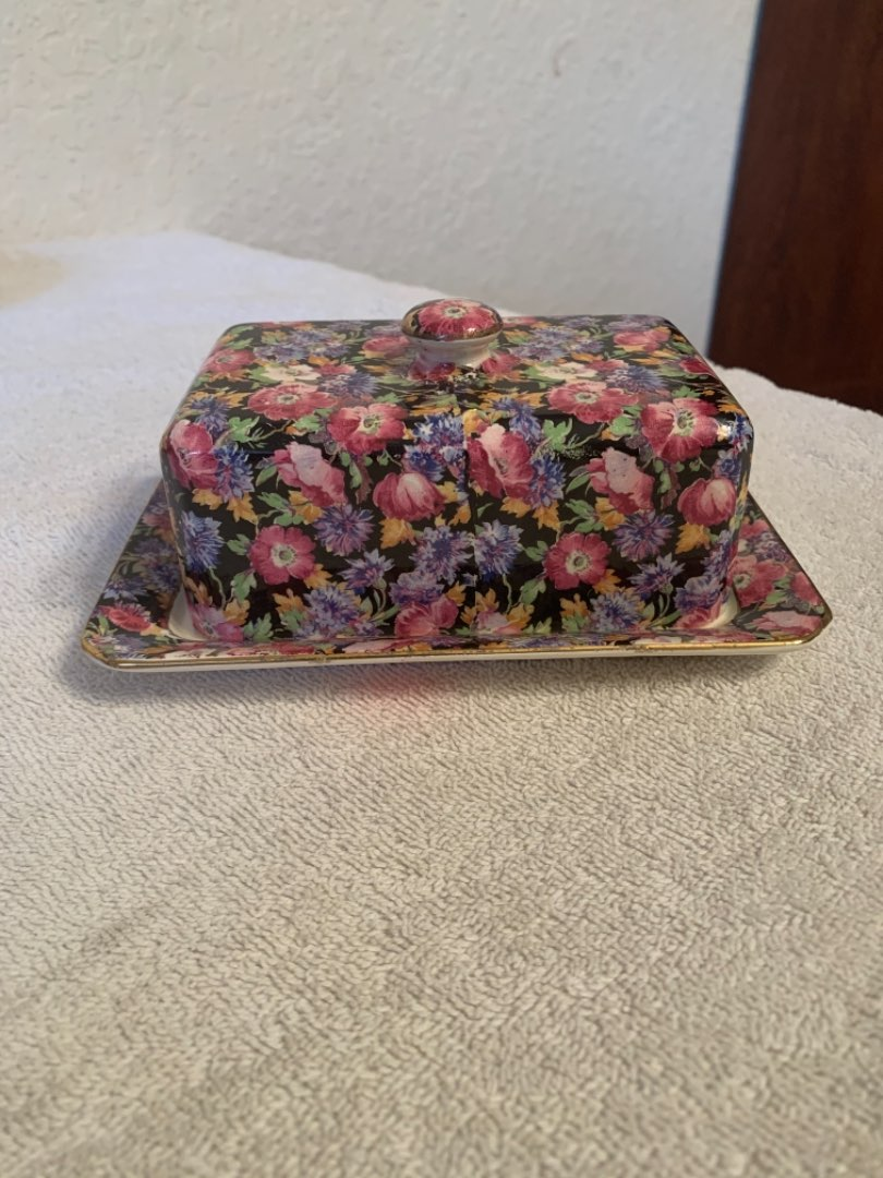 Lot # 47 Beautiful Royal Winton Grimwades Majestic Covered Butter Dish. See Below