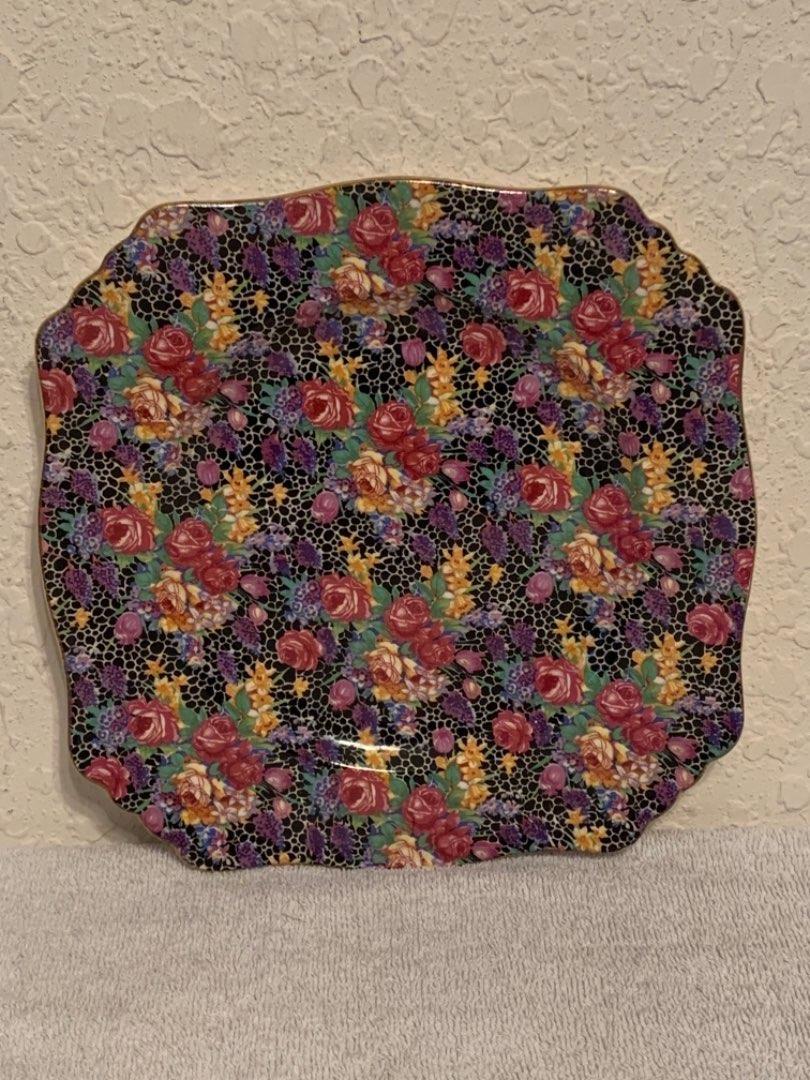 Lot # 53 Beautiful Royal Winton Grimwades Hazel Chintz Square Plate. See Below