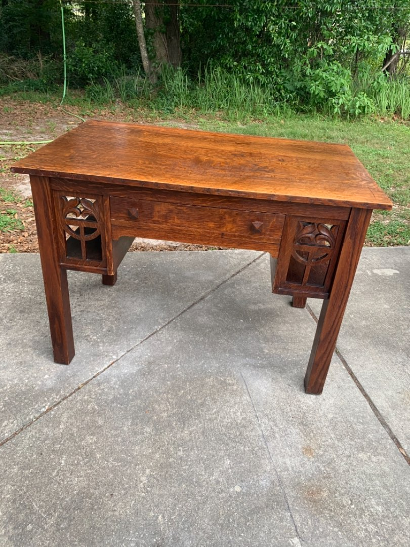 Lot # 55 Stunning Antique Quartersewn Oak Library table With Cut Outs. See Below