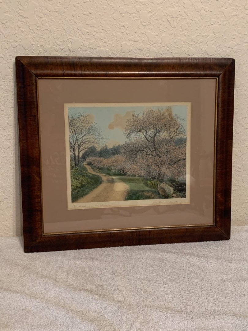 """Lot # 57 Nice Signed Wallace Nutting """"Decked As A Bride"""" Framed Print."""