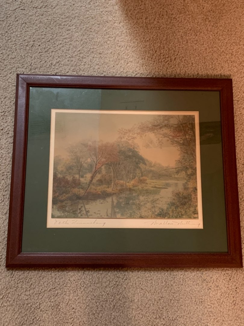 """Lot # 58 Signed Wallace Nutting """"On The Quinnibaug"""" Framed Print"""