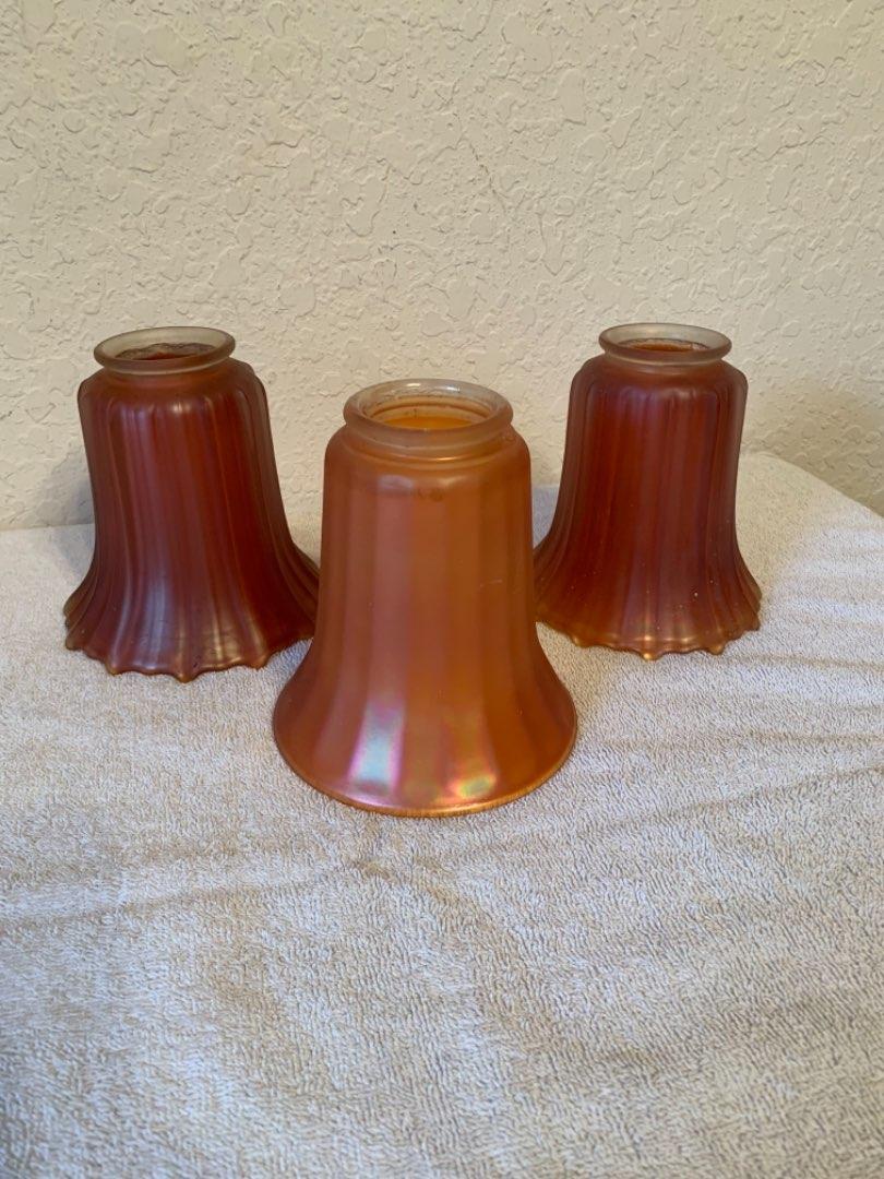 Lot # 59  3 Beautiful Vintage Carnival Glass Satin Finish Ribbed Lamp Shades