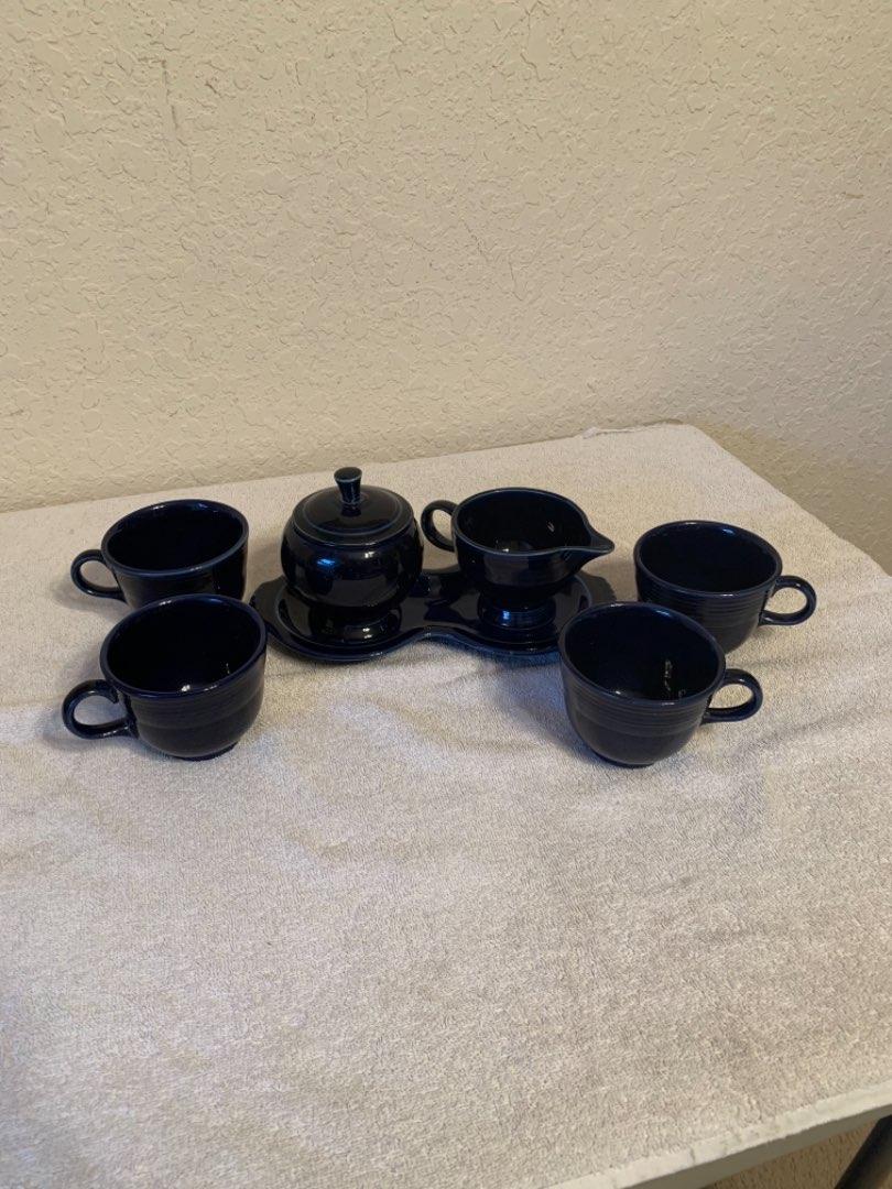 Lot # 72 Nice Lot Cobalt blue Fiestaware Sugar & Creamer, Dish, 4 Cups/Mugs