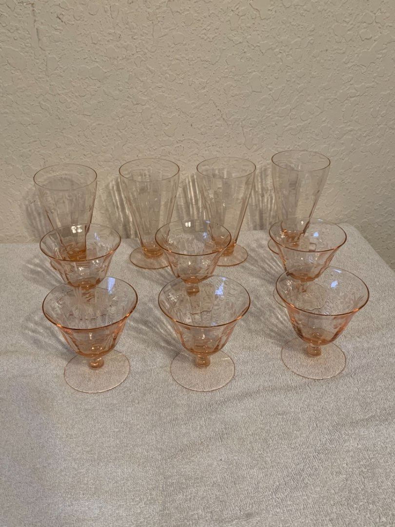 Lot # 73  Lot (10 pieces) Beautiful Pink Etched Depression Glass. See Below