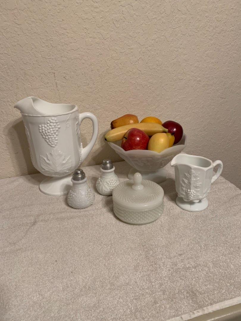 Lot # 77 Vintage Lot Assorted Milk Glass Glassware. See Below