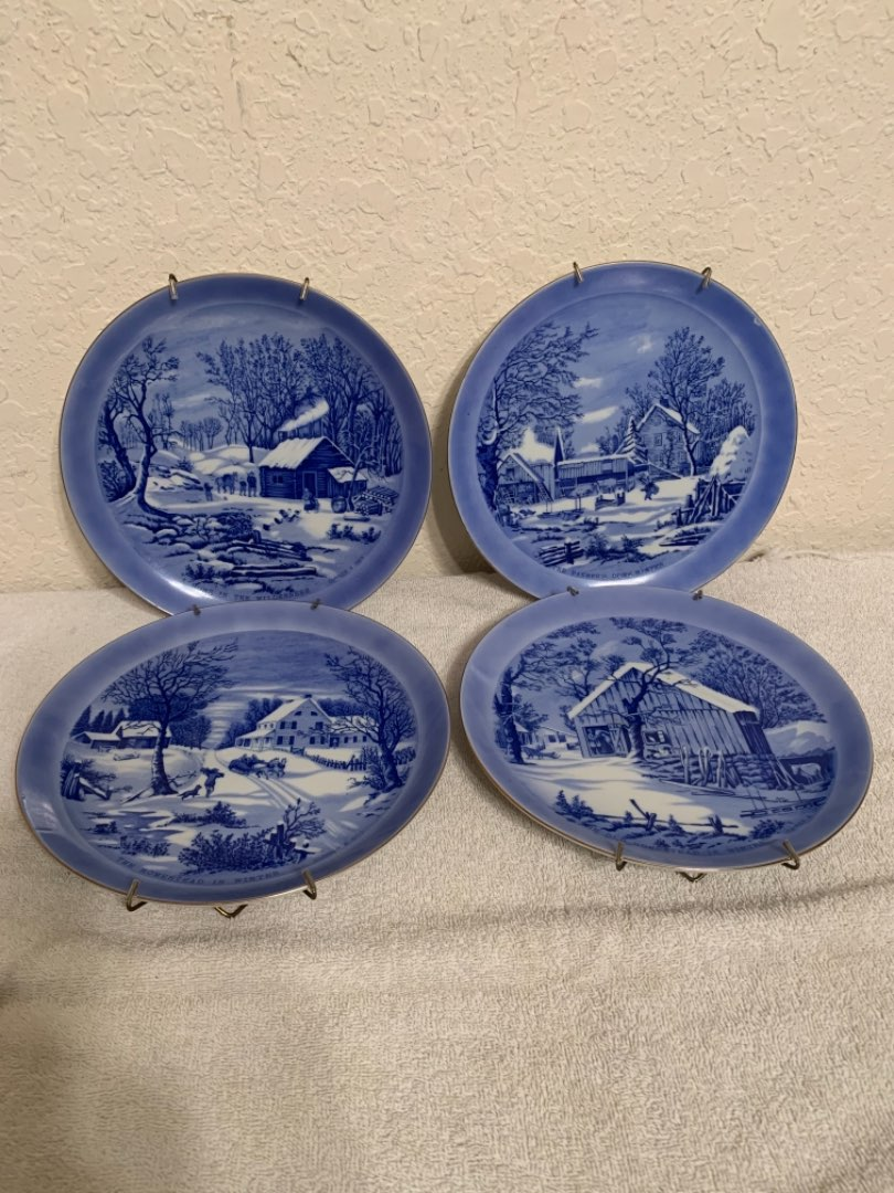 Lot # 78 Four Currier & Ives Blue Scenic Plates With Hangers For Wall