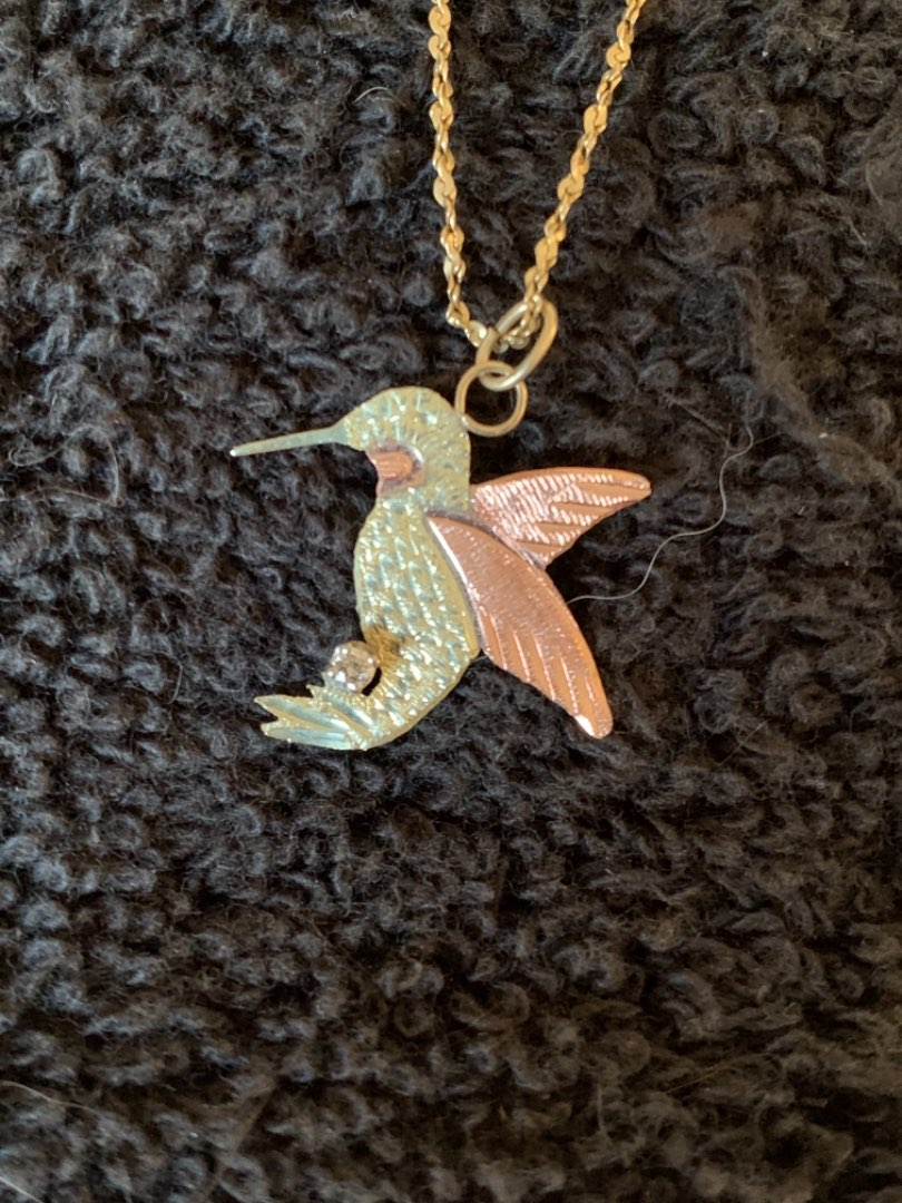 Lot # 83 Nice 10K Black Hills Gold Hummingbird On 14K GF Chain