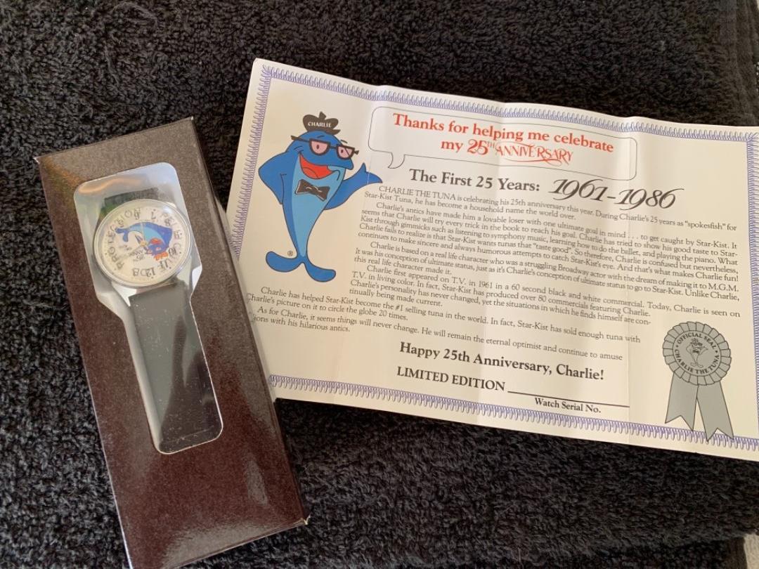 Lot # 85 NIB Vintage Charlie The Tuna 25th Anniversary Watch. 80's