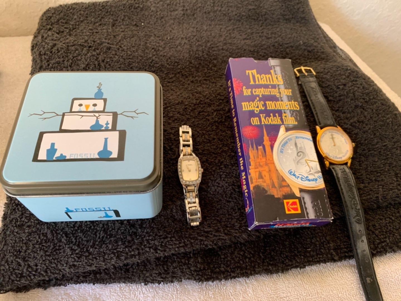 Lot # 86 Two Vintage Watches. Fossil & Kodak Disney. See Below