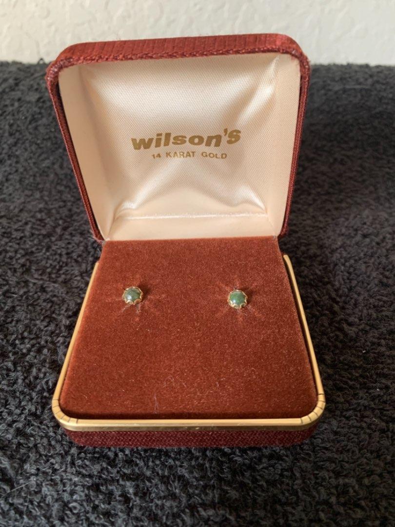Lot # 91 Vintage Stamped 14K Stud Emerald Earrings