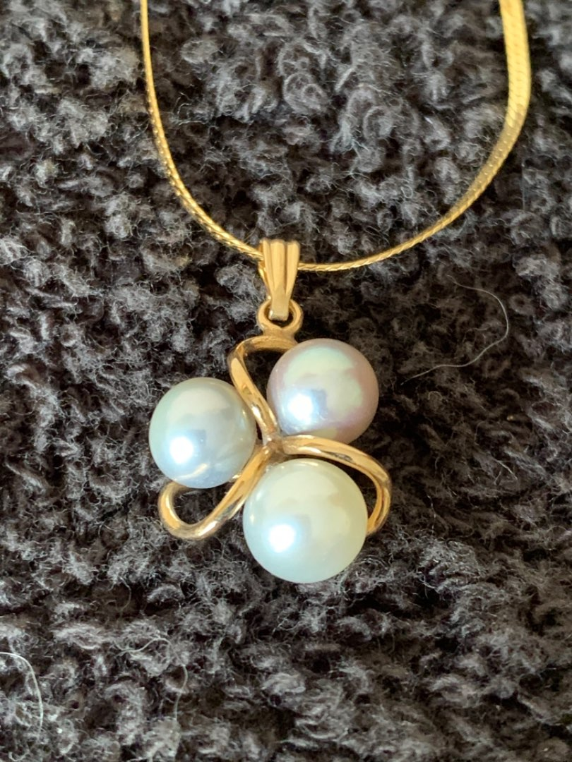 Lot # 95 Beautiful 14K Pearl Pendant & Chain. 3.54 Grams