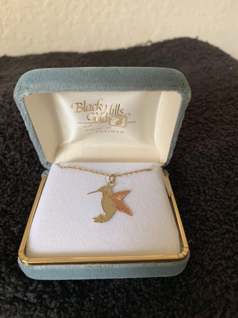 Lot # 96 Beautiful 10K Black Hills Gold Hummingbird Necklace/Pendant In Box