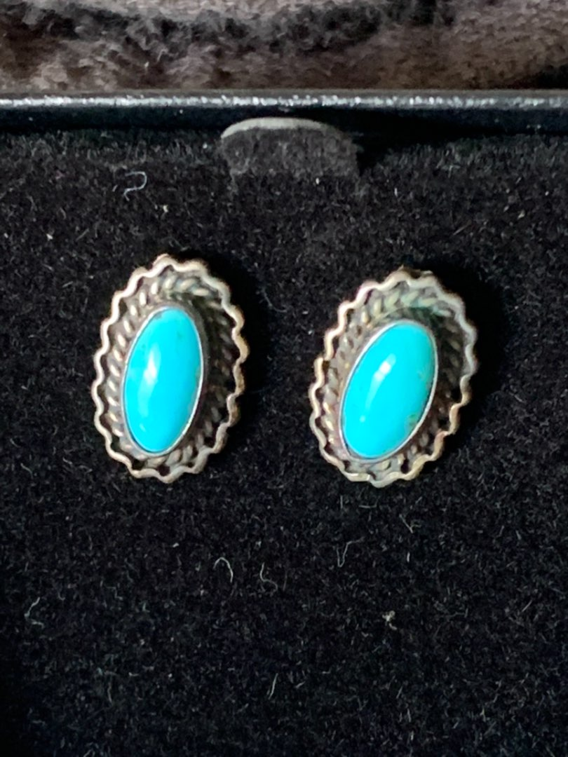 Lot # 97 Very Nice Sterling Silver Earrings With Turquoise.