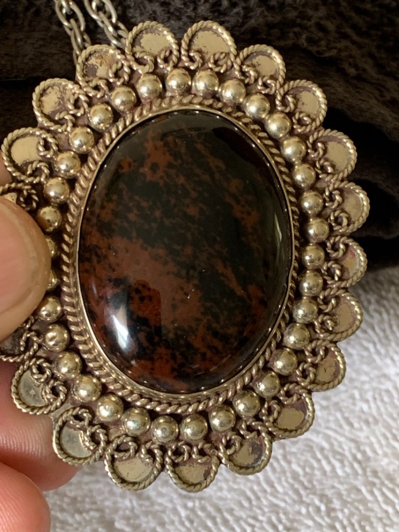 Lot # 98 Large Vintage Hechoen Mexico Sterling Silver Brooch/Pendant With Stone. See Below.