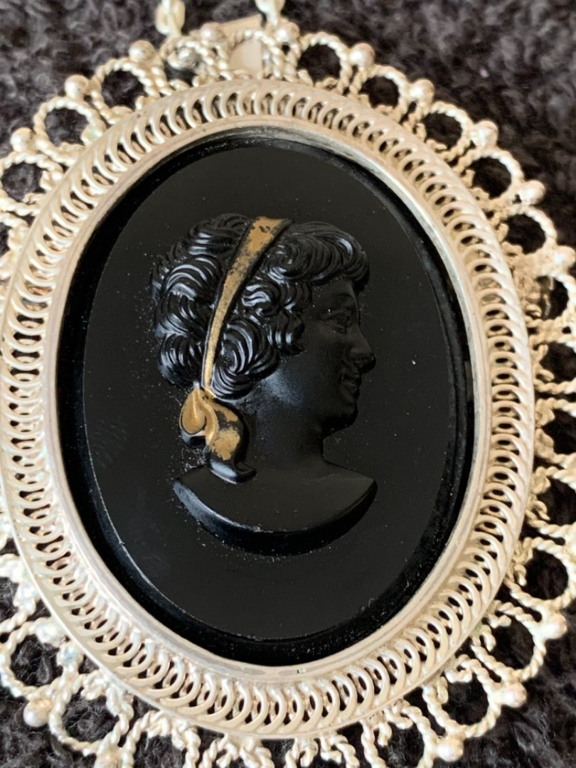 Lot # 99  Beautiful Black Cameo Brooch /Pendant On Chain. See Below