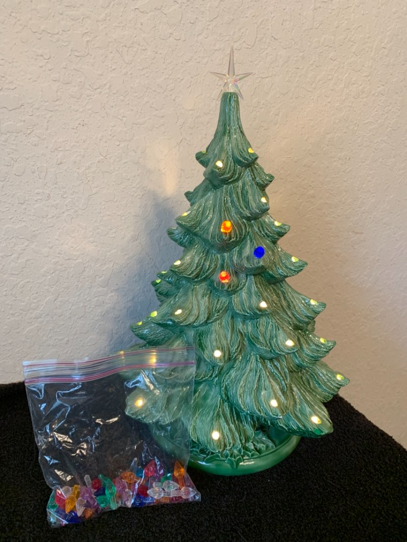 """Lot # 105 Ceramic 16"""" Electric Christmas Tree With Colored Pegs"""