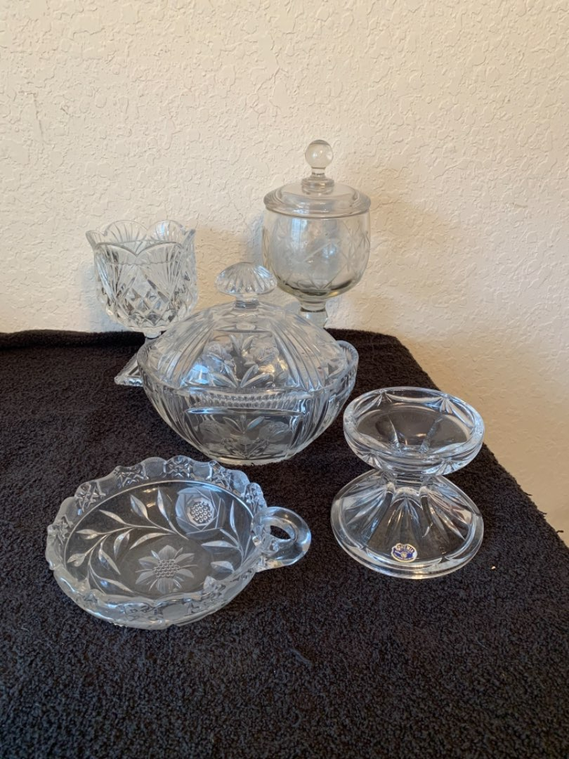 Lot # 107 Vintage Lot Assorted Heavy Pattern Glass, Crystal, Etc..Nice Condition