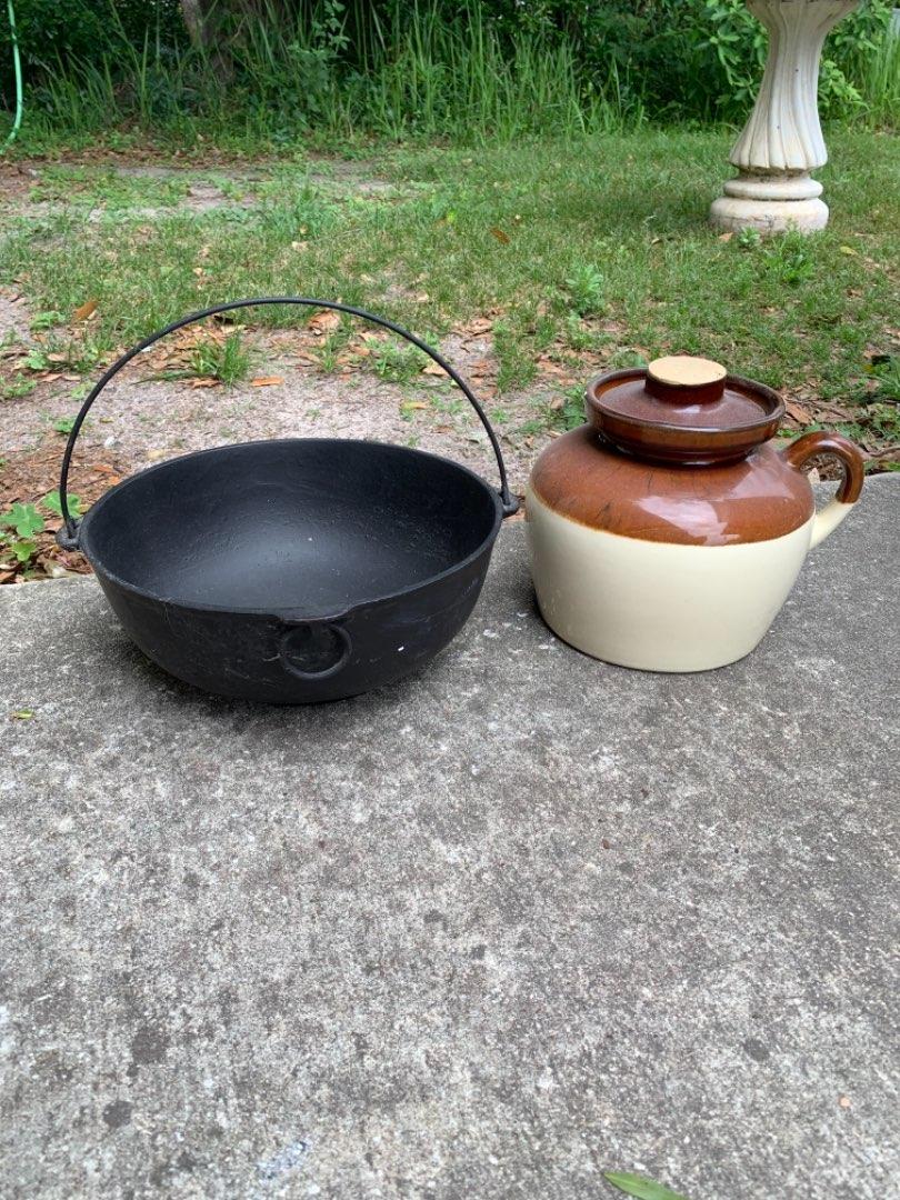Lot # 113 Vintage Cast Iron Kettle & Vintage Bean Pot. See Below