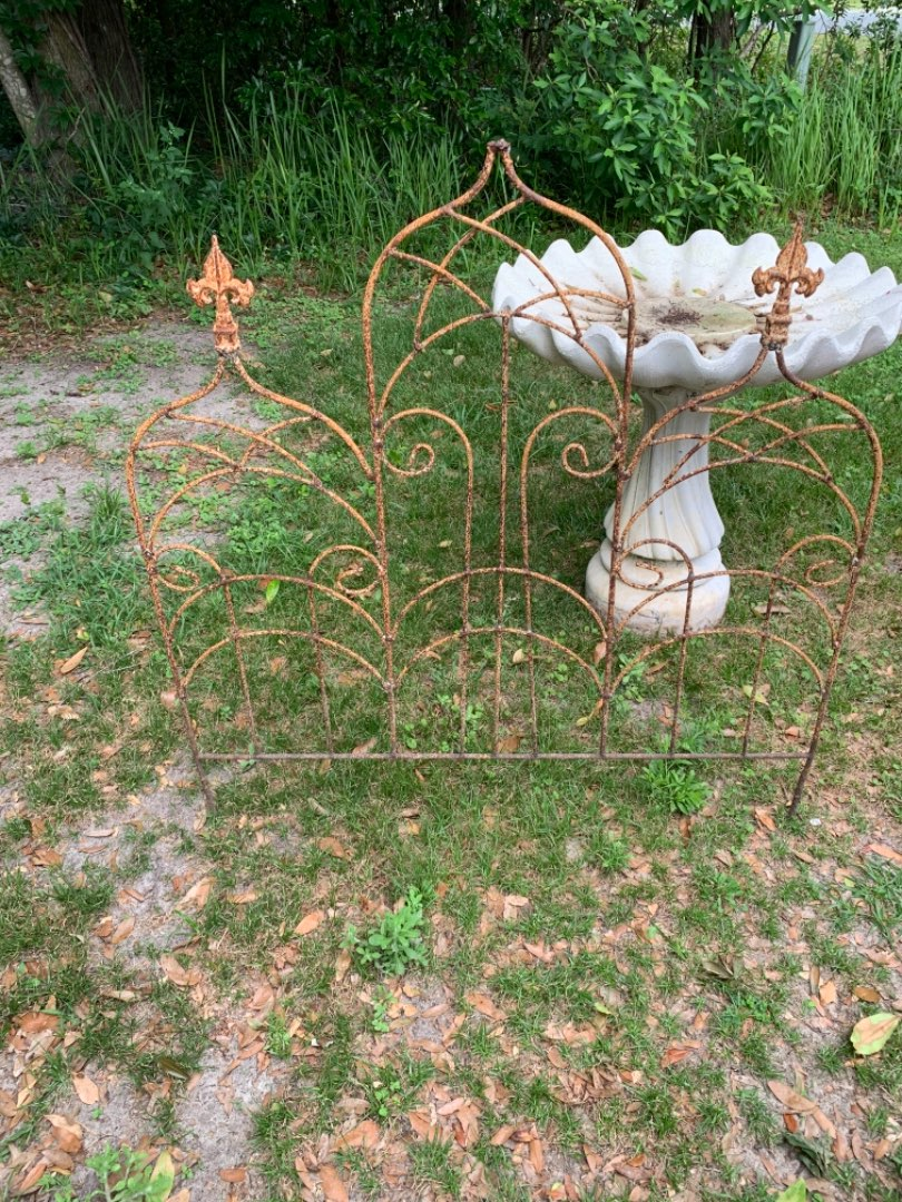 Lot # 114 Two Sections Vintage Iron Decorative Garden Fence. Old & Rusty