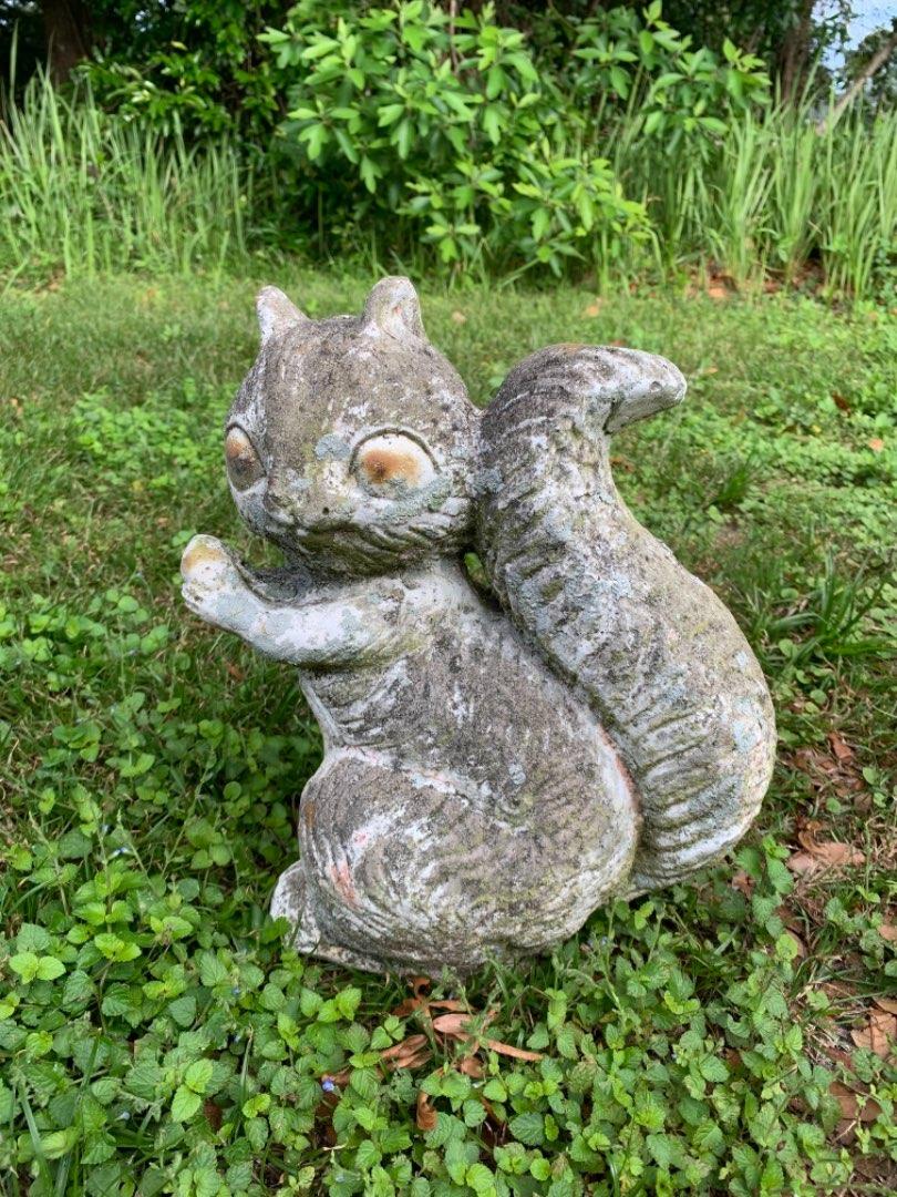Lot # 129 Heavy Old Concrete Chipmunk Garden Statue. Nice Condition.