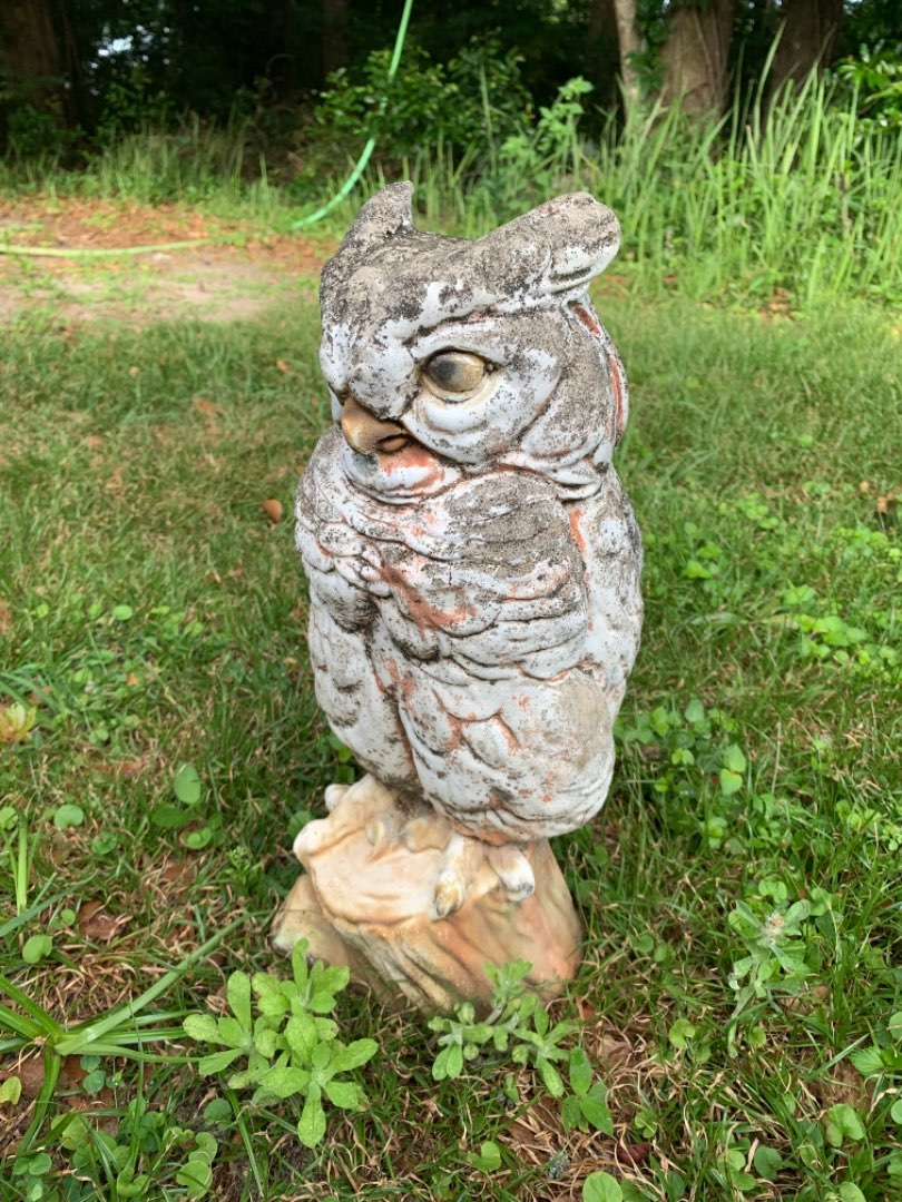 Lot # 130 Very Heavy Old Concrete Owl Garden Statue. Great Condition