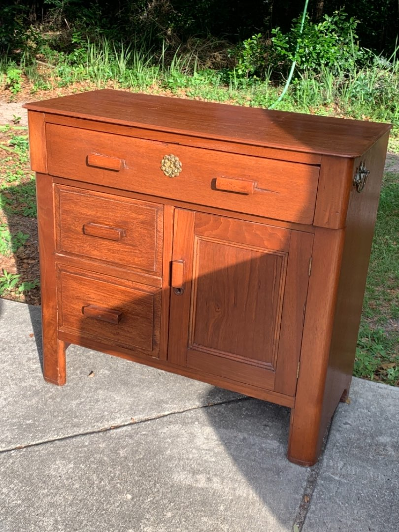 Lot # 134 Nice Solid Antique English Walnut Commode. See Below
