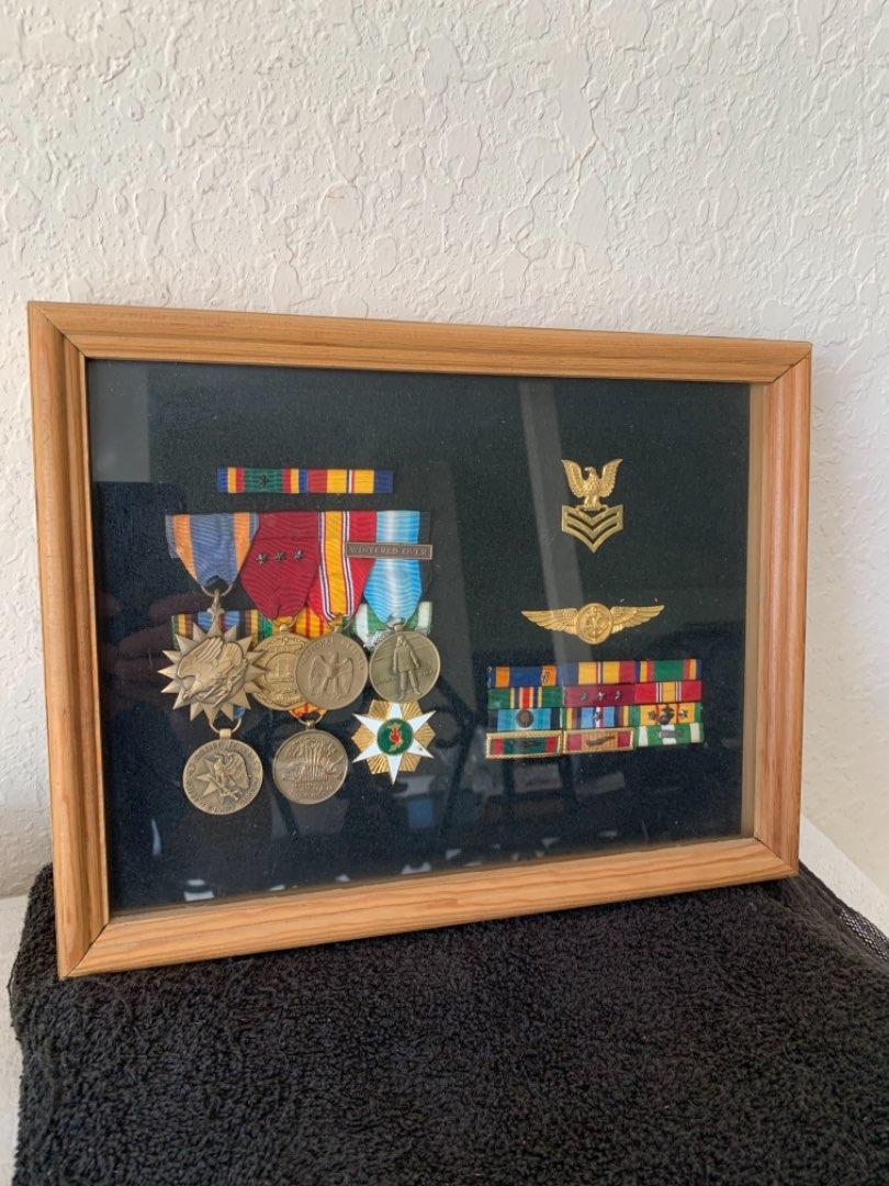 Lot # 135 Beautiful Lot Framed Vietnam Military Medals Etc.. See Below