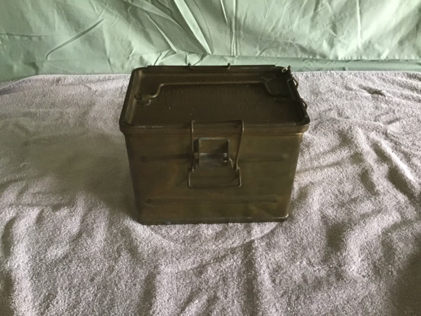 Lot # 145   Great Vintage BRASS Military Box for Signal Flares & Smoke Distress Signals