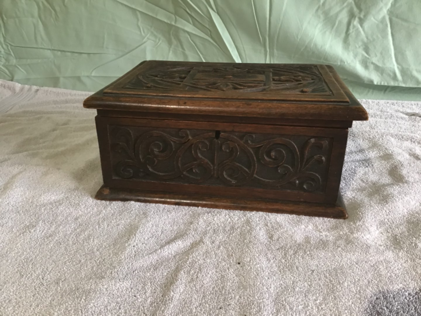 Lot # 146 Beautiful Antique Hand Carved Document Box.