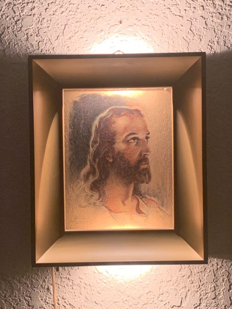 Lot # 150 Vintage(1935) Hanging Working Light-Up Metal Framed Print of Jesus. Nice Condition.