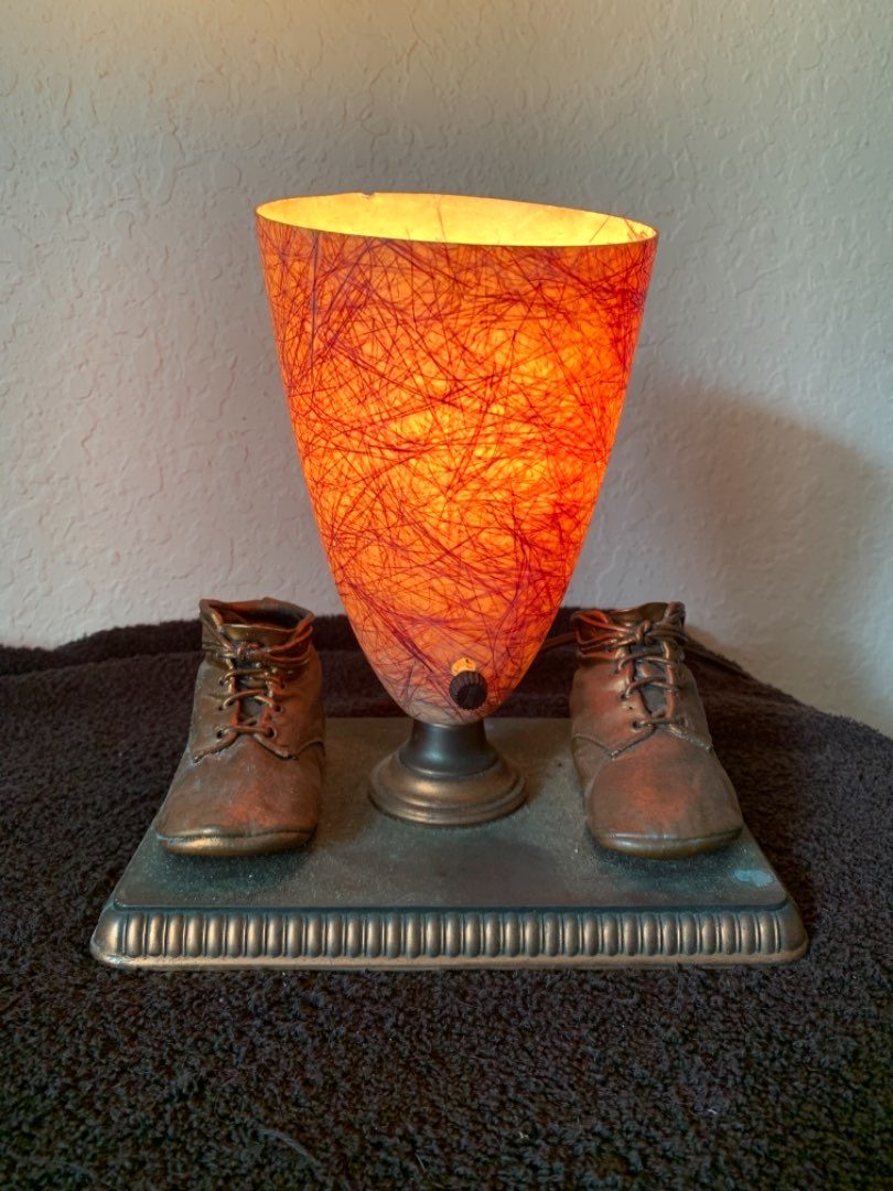 Lot # 152 Vintage Bronze Baby Shoe Table Lamp With MCM Lampshade