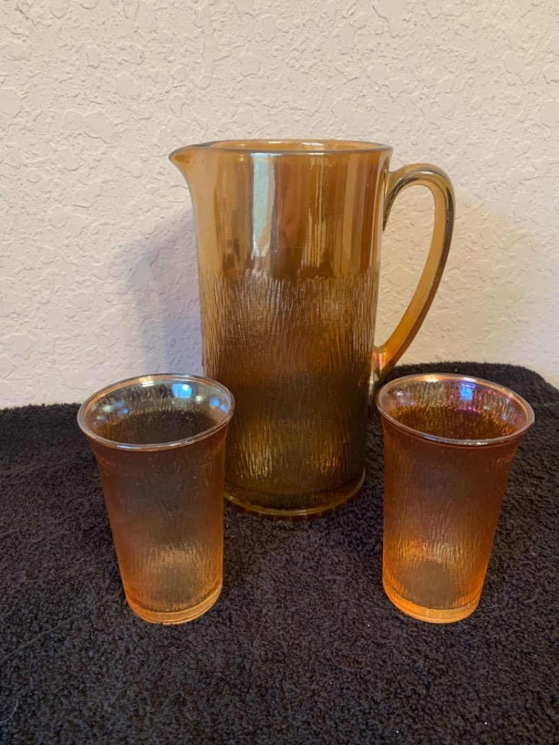 Lot # 154  Vintage Tall Heavy Marigold Pitcher & 2 Glasses. Nice Condition