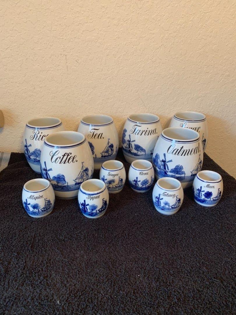 Lot # 155  Lot Antique Germany Porcelain Canister/Spice Set. See Below
