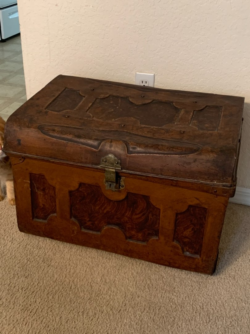 Lot # 157 Great Antique Fancy Copper Finish Metal Trunk From France. See Below