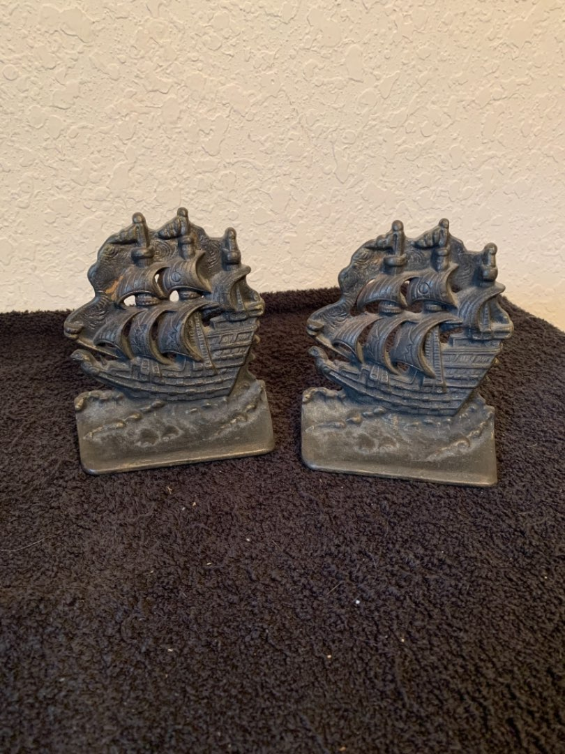 Lot # 159  Vintage Set Iron Ship Bookends. Nice Condition
