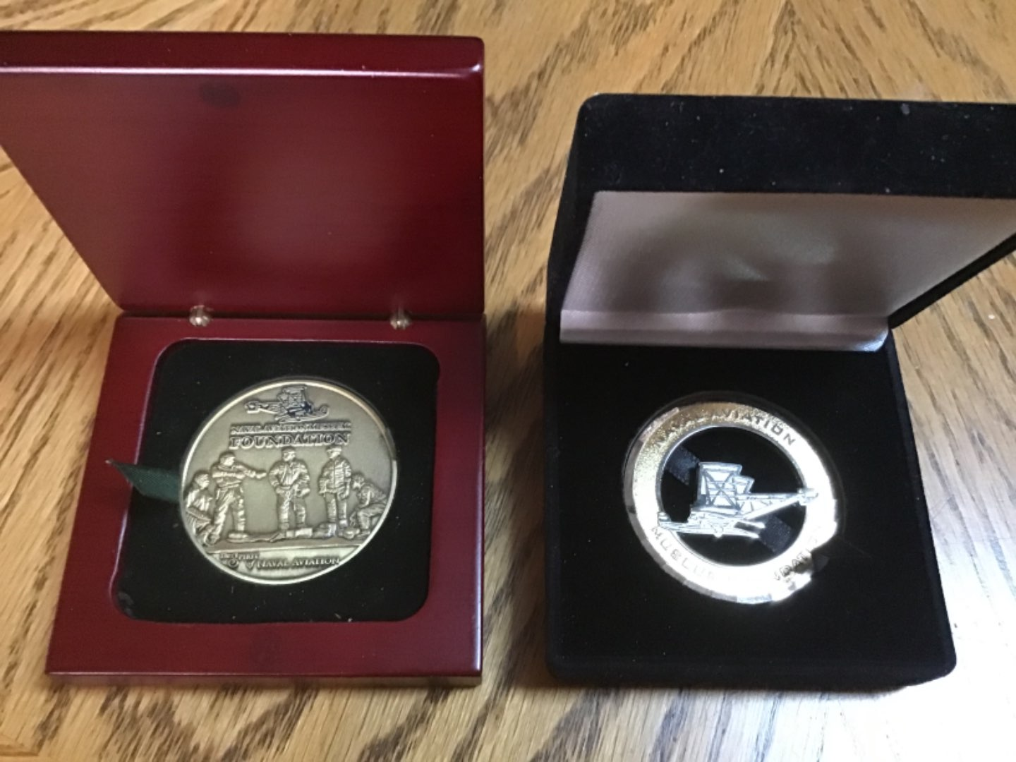 Lot # 163 Pair of Naval Aviation Recognition Medals in Presentation Cases