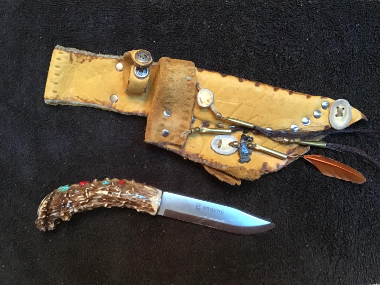 Lot # 164 Vintage BRUSLETTO Bone-Handled Knife & Fringed Buckskin Sheath Native American Design