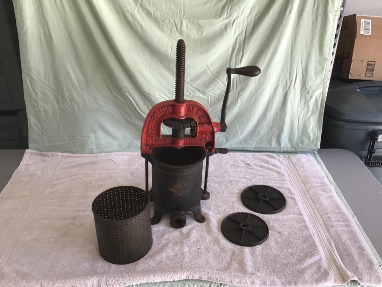 Lot # 174 Antique Sausage Press -Enterprise Mfgr Patent 1876 - Heavy Cast Iron