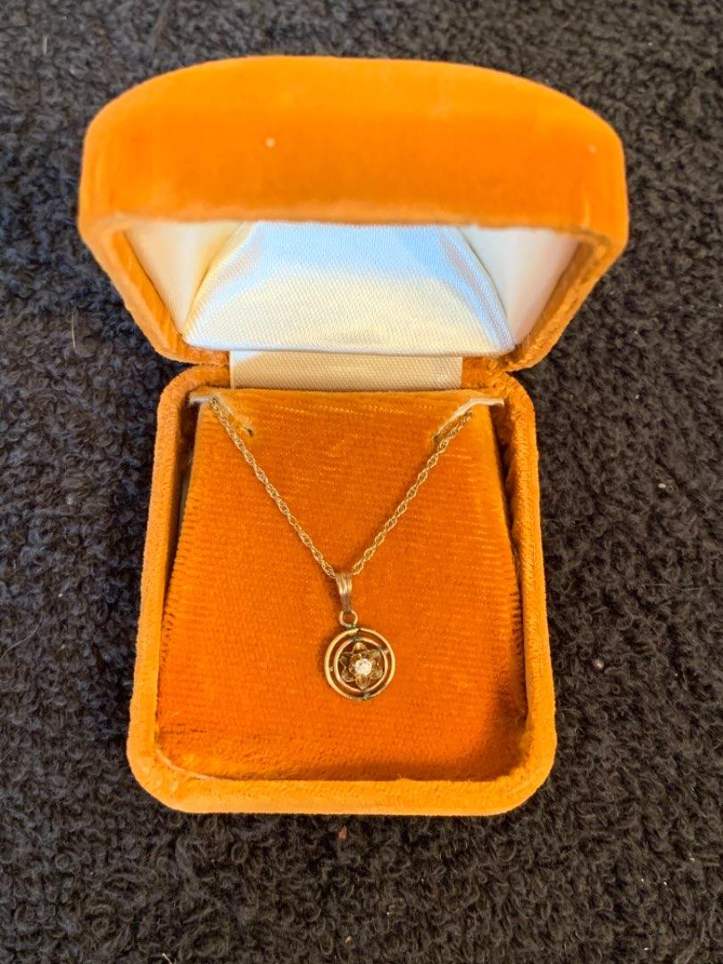 Lot # 182 Vintage 10K Pendant; 14K Chain. See Below