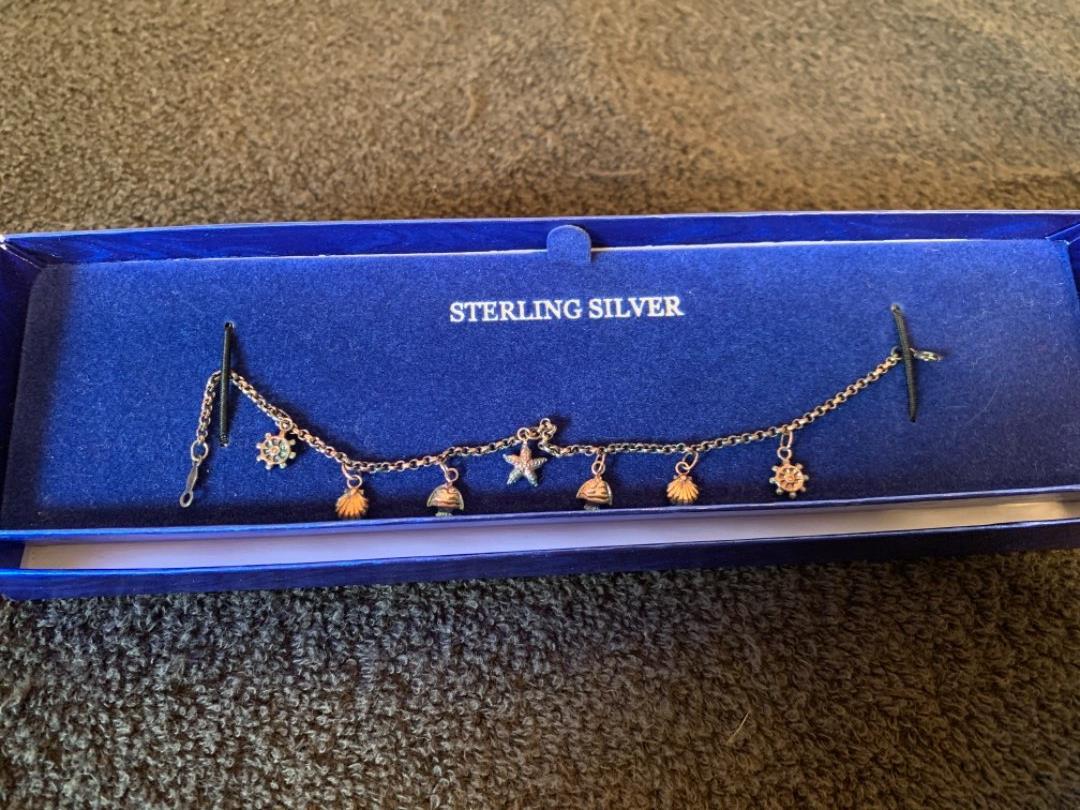 Lot # 187 Very Nice Sterling Silver Nautical Charm Bracelet.